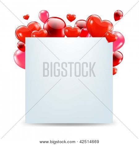Happy Valentines Day Card With Red Hearts With Gradient Mesh, Isolated On White Background, Vector Illustration
