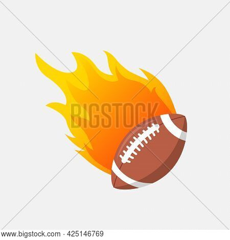 American Football Ball In Fire Flame. Rugby Fireball Cartoon Icon. Fast Ball Logo In Motion Isolated