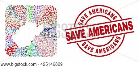 Vector Collage West Virginia State Map Of Different Icons And Save Americans Seal. Collage West Virg