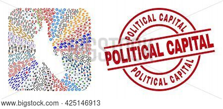 Vector Collage Zanzibar Island Map Of Different Pictograms And Political Capital Seal Stamp. Collage