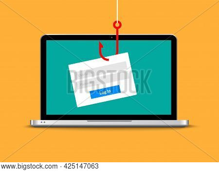 Data Phishing Hacking Online. Scam Envelope Concept. Computer Data Fishing Hack Crime