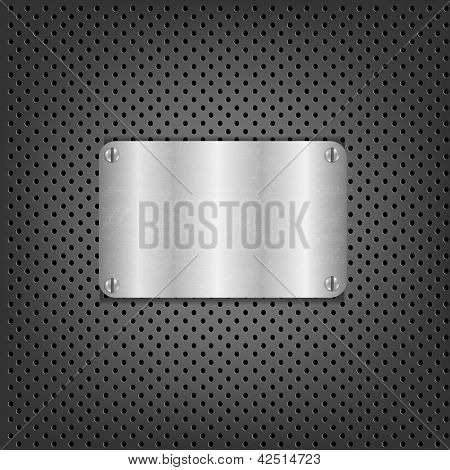 Metal Background With Metal Plate With Gradient Mesh, Vector Illustration