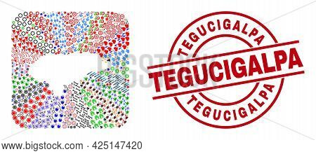 Vector Collage Honduras Map Of Different Icons And Tegucigalpa Seal Stamp. Mosaic Honduras Map Const