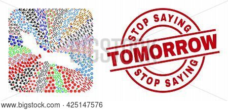 Vector Collage Curacao Island Map Of Different Symbols And Stop Saying Tomorrow Badge. Collage Curac