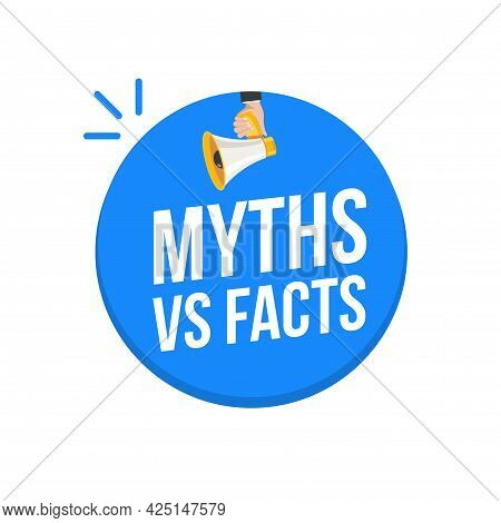 Myths And Facts Logo Vector Megaphone Background. Check Fact Truth Fake Concept