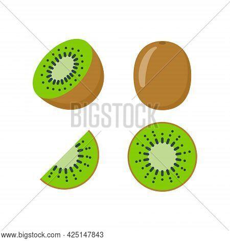Kiwi Fruit Vector Icon Illustration. Half Kiwifruit Logo Cartoon Flat Isolated Icon