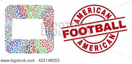 Vector Collage North Dakota State Map Of Different Icons And American Football Badge. Collage North