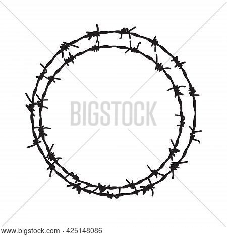 Barb Wire Circle Vector Fence Frame. Barbed Round Wire Ring Prison Logo