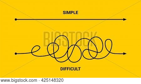 Simple Or Difficult Way Path Concept. Easy Simple Difficult Complicated Problem Doodle Line Vector A