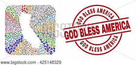 Vector Collage California State Map Of Different Pictograms And God Bless America Stamp. Collage Cal