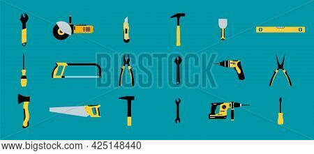 Construction Tools Hammer Repair Carpentry Background. Electric Home Tool Screwdriver Toolkit Collec