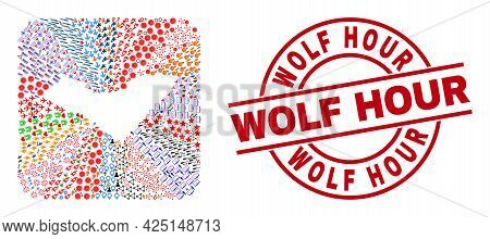 Vector Mosaic Alagoas State Map Of Different Icons And Wolf Hour Seal Stamp. Mosaic Alagoas State Ma