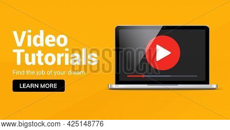 Video Tutorial Online Player Icon. Media Player For Webinar Training Education Tutorial Design Conce