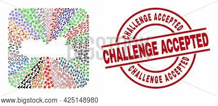 Vector Collage Meghalaya State Map Of Different Symbols And Challenge Accepted Seal. Collage Meghala
