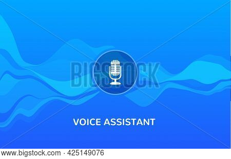 Voice Recognition Wave Sound Ai Icon. Music Microphone Voice Assistant Car Or Phone