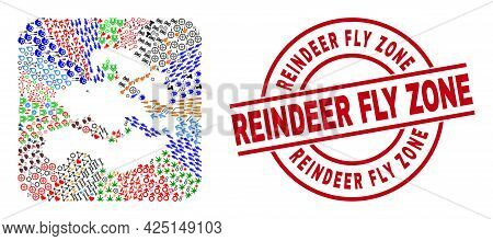 Vector Collage Zeeland Province Map Of Different Symbols And Reindeer Fly Zone Seal. Collage Zeeland