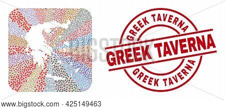 Vector Collage Greece Map Of Different Symbols And Greek Taverna Seal Stamp. Mosaic Greece Map Const