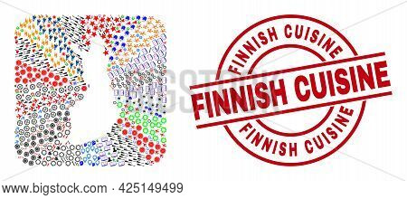 Vector Collage Finland Map Of Different Pictograms And Finnish Cuisine Stamp. Mosaic Finland Map Des