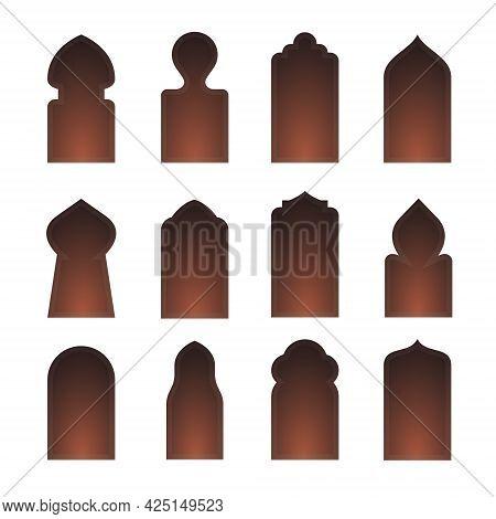 Arab Arch Door Shape Set. Islam Window Gate, Arabesque Arabian Vector Icon Silhouette