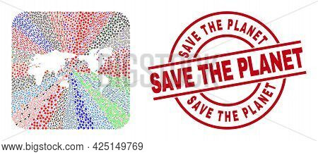 Vector Collage World Map Of Different Pictograms And Save The Planet Seal Stamp. Mosaic World Map Cr