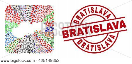 Vector Collage Slovakia Map Of Different Symbols And Bratislava Stamp. Collage Slovakia Map Created