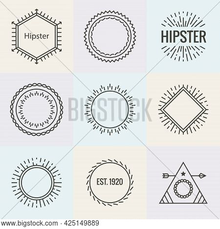 Hipster Burst Logo Sun Text Anchor. Sun Ray Cross Line Hipster Premium Vector Logo
