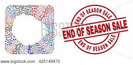 Vector Collage La Gomera Island Map Of Different Icons And End Of Season Sale Seal Stamp. Collage La