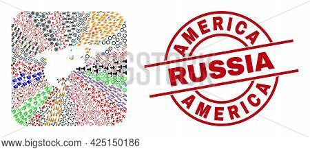 Vector Mosaic North America And Greenland Map Of Different Symbols And America Russia Badge. Mosaic