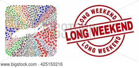 Vector Mosaic Long Island Map Of Different Pictograms And Long Weekend Badge. Mosaic Long Island Map