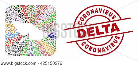 Vector Collage Acre State Map Of Different Icons And Coronavirus Delta Seal Stamp. Collage Acre Stat