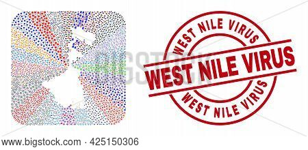 Vector Mosaic West Bengal State Map Of Different Icons And West Nile Virus Seal. Mosaic West Bengal