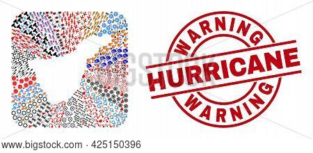 Vector Collage Tenerife Map Of Different Pictograms And Warning Hurricane Badge. Collage Tenerife Ma