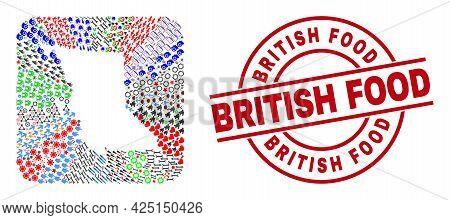 Vector Mosaic British Columbia Map Of Different Icons And British Food Stamp. Mosaic British Columbi