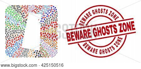 Vector Collage Saskatchewan Province Map Of Different Symbols And Beware Ghosts Zone Badge. Collage