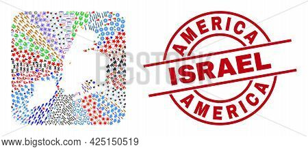 Vector Mosaic New York City Map Of Different Icons And America Israel Badge. Mosaic New York City Ma
