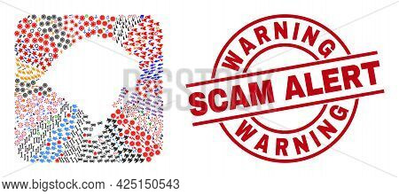 Vector Collage Rio Grande Do Sul State Map Of Different Symbols And Warning Scam Alert Seal. Collage