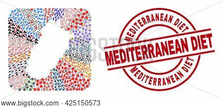 Vector Collage Punjab Province Map Of Different Pictograms And Mediterranean Diet Badge. Collage Pun