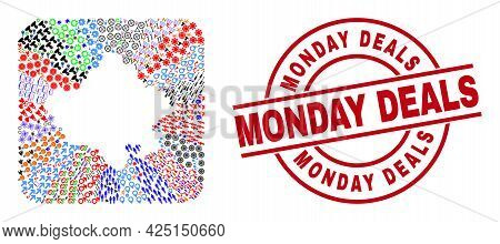 Vector Mosaic Rajasthan State Map Of Different Icons And Monday Deals Seal Stamp. Mosaic Rajasthan S
