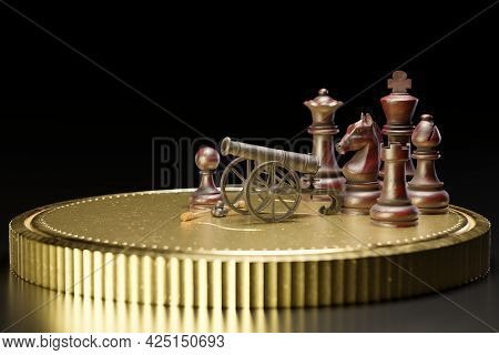 Old Rusted Cannon On A Carriage And Cannonballs Are Placed Next To It. There Is Chess On A Gold Coin