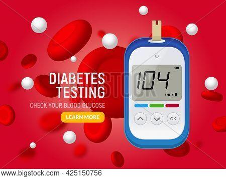Glucose Sugar Test. Glucometer Vector Blood Monitor. Diabetes Sugar Meter Insulin Control Device Ill