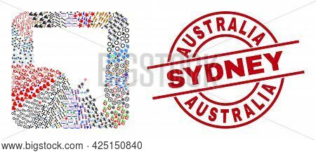 Vector Mosaic South Australia Map Of Different Icons And Australia Sydney Seal Stamp. Mosaic South A