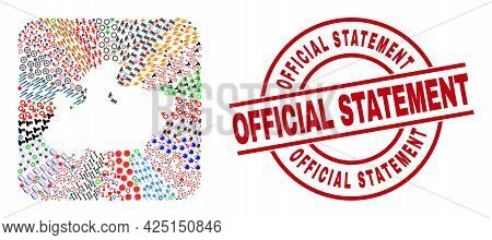 Vector Mosaic Madhya Pradesh State Map Of Different Symbols And Official Statement Seal. Mosaic Madh