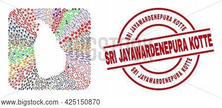 Vector Collage Sri Lanka Map Of Different Pictograms And Sri Jayawardenepura Kotte Seal Stamp. Colla