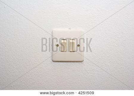 Old White Light Double Switch On Wall