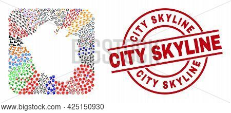 Vector Collage Chandigarh City Map Of Different Pictograms And City Skyline Seal Stamp. Collage Chan
