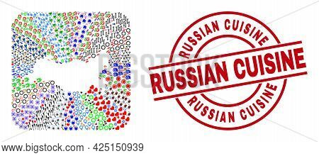 Vector Mosaic Russia Map Of Different Icons And Russian Cuisine Stamp. Mosaic Russia Map Created As