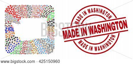 Vector Mosaic Washington State Map Of Different Icons And Made In Washington Seal Stamp. Mosaic Wash