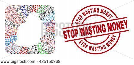 Vector Mosaic Mauritius Island Map Of Different Symbols And Stop Wasting Money Badge. Mosaic Mauriti