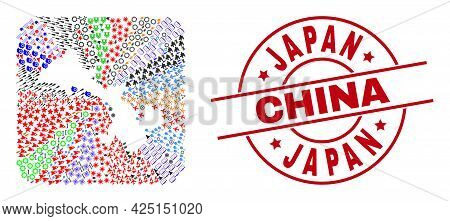 Vector Mosaic Gansu Province Map Of Different Icons And Japan China Seal Stamp. Mosaic Gansu Provinc