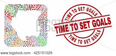Vector Collage Suriname Map Of Different Pictograms And Time To Set Goals Stamp. Collage Suriname Ma